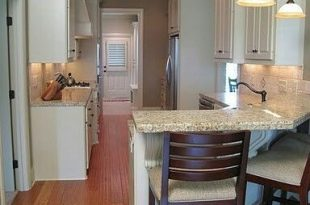 Galley kitchen with peninsula breakfast bar … | Kitchen remodel .