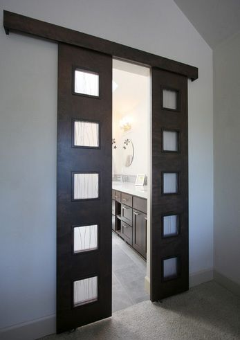 Double bathroom entry doors with frosted glass panels | Decolover .
