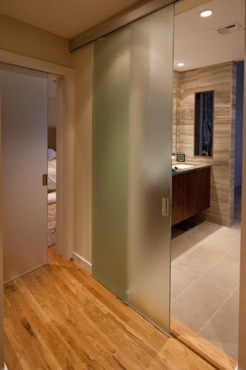 Bathroom entry doors with full sliding frosted glass | Decolover .