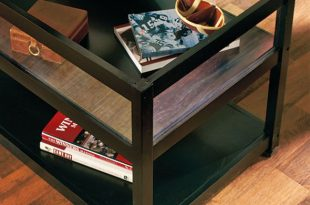 END TABLE Glass Top Display Table Lift Storage Rectangle Accent .