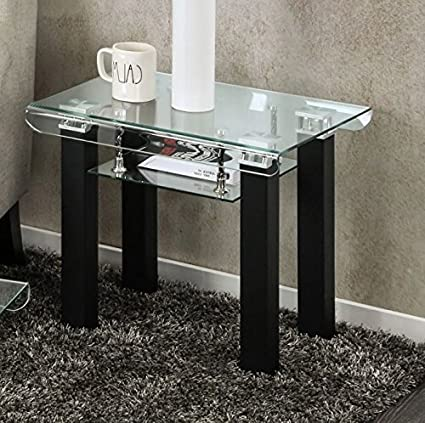 Amazon.com: Rectangular Glass End Table With Storage Area Side .