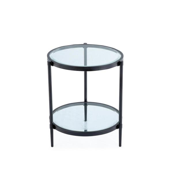 Boyel Living 21.65 in. Black Round Glass Top End Table and Storage .
