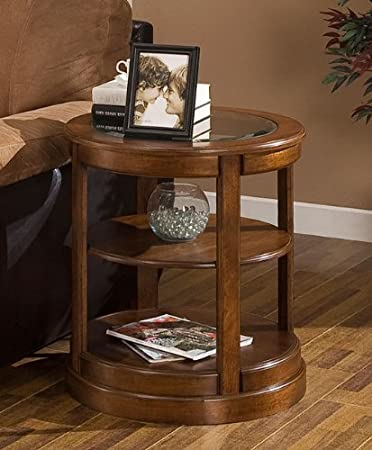 Amazon.com: Round End Table with Glass Top. These Small Modern .