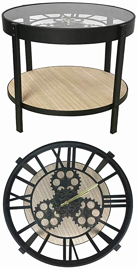 Amazon.com: YIFONTIN Round Accent Table Glass End Table Metal Side .