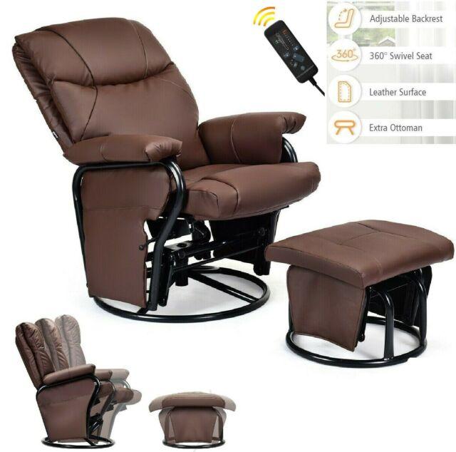 Samson Kona Brown Leather (Bonded) Reclining Swivel Chair w .
