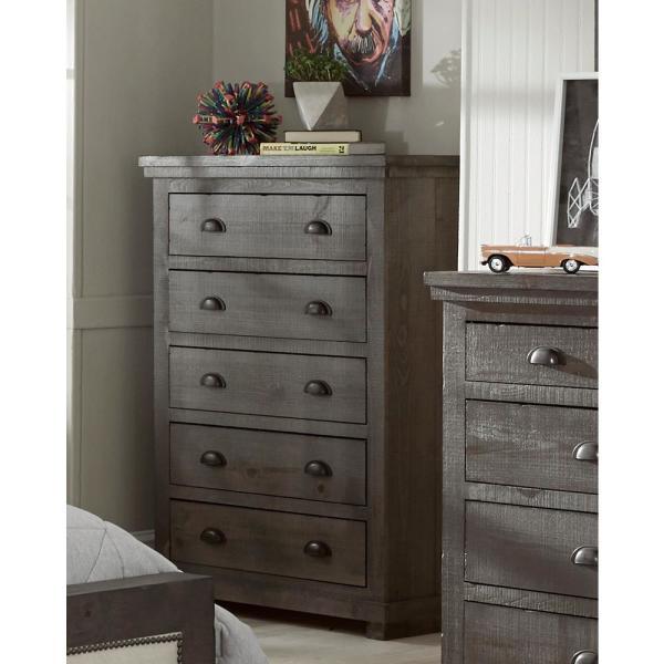 Progressive Furniture Willow 5-Drawer Distressed Dark Gray Chest .