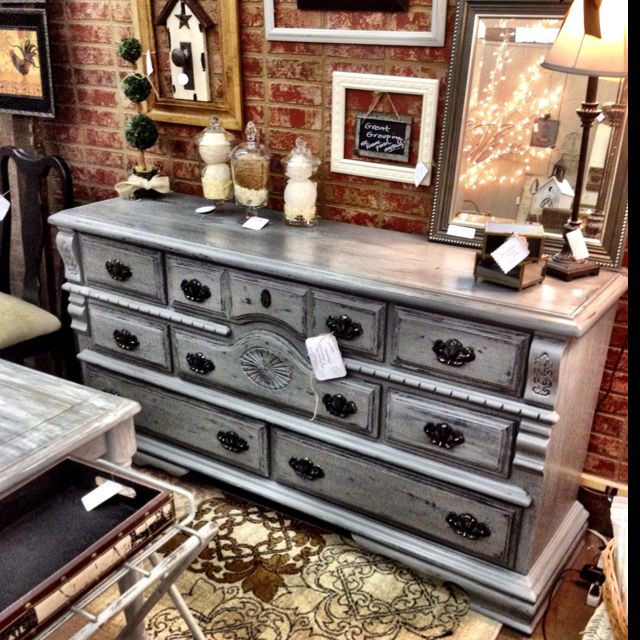 Dark gray distressed glazed dresser. | Distressed furniture .