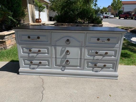 Sold Vintage light gray 9 drawer distressed dresser buffet | Et