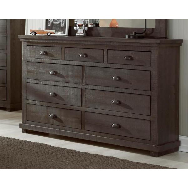 Progressive Furniture Willow 9-Drawer Distressed Dark Gray Dresser .