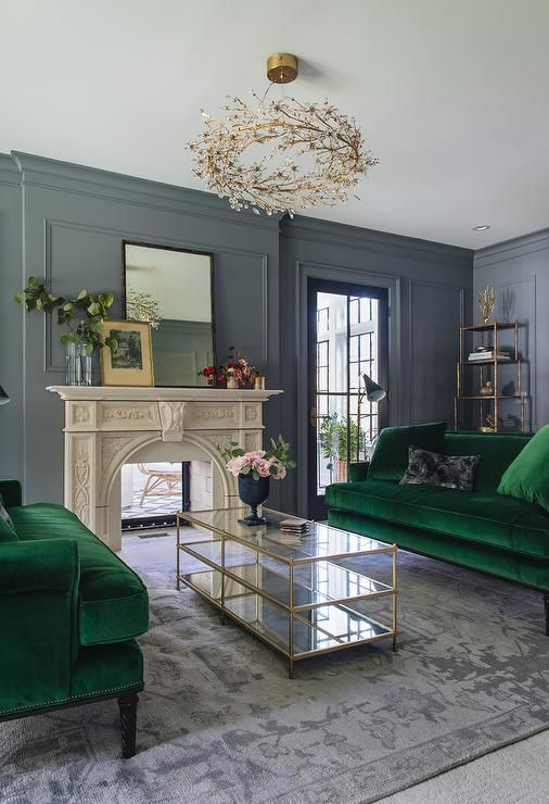 Emerald green sofas | Living room green, Living room grey, Living .
