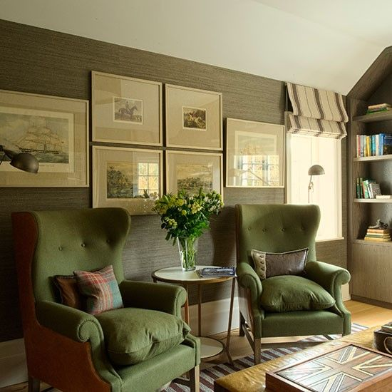 Living room with green upholstered armchairs | Living room .