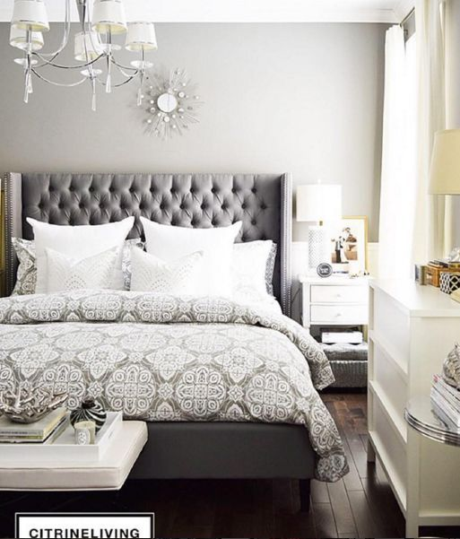 Grey patterns and tufted headboard make the perfect combo Citrine .