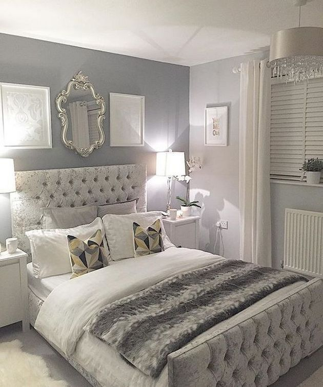 Beautiful Grey Upholstered Bed Decor Color Schemes_23 | Grey .