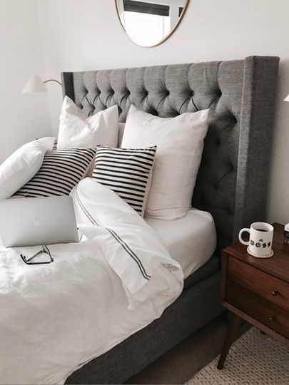 Grey Tufted Headboard | Grey headboard bedroom, Tuffed headboard .