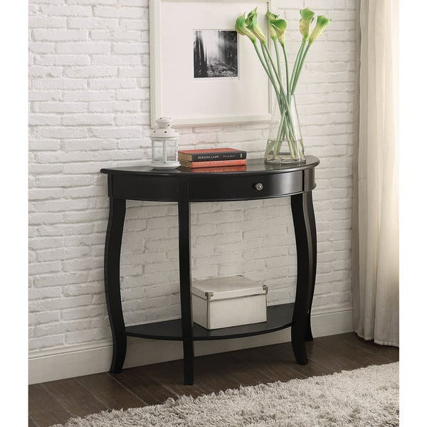 Shop Yvonne Half-Moon Console Table with Drawer in Antique Black .
