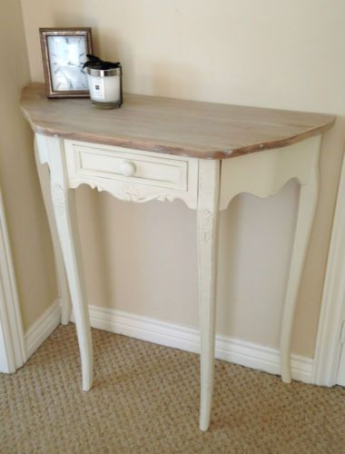 Cream-French-Country-Shabby-Chic-Half-Moon-1-Drawer-Console-Hall .