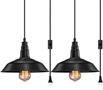FadimiKoo Plug in Pendant Light E26 E27 Industrial Hanging Pendant .