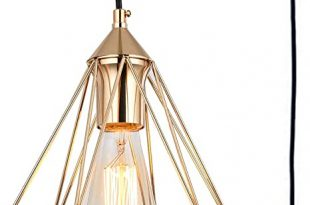 SEEBLEN Plug in Pendant Light Gold Hanging Light Fixture with 15 .