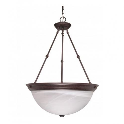 "Nuvo 20"" Hanging Pendant Light Fixture, Old Bronze, Alabaster ."