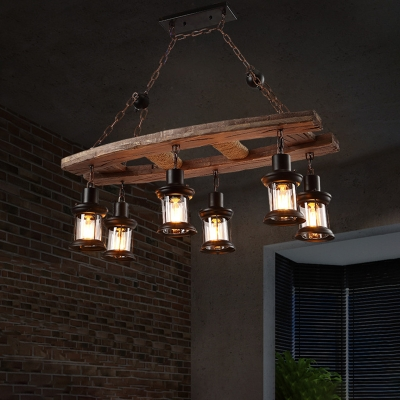 Rustic Island Chandelier Iron and Wood 6 Heads Hanging Light .