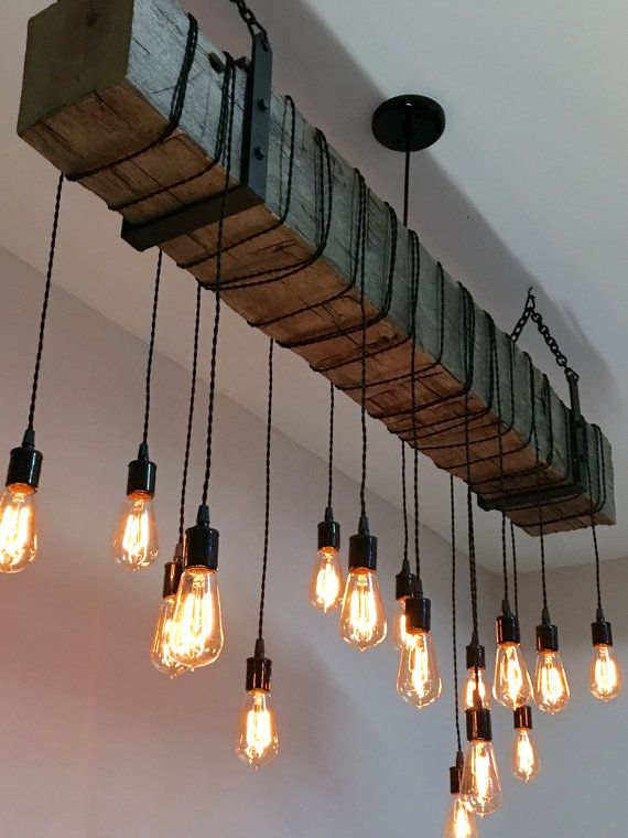 Reclaimed Wood Beam Light Fixture Chandelier with hanging brackets .