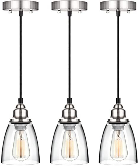 Industrial Mini Pendant Lighting, Clear Glass Shade Hanging Light .