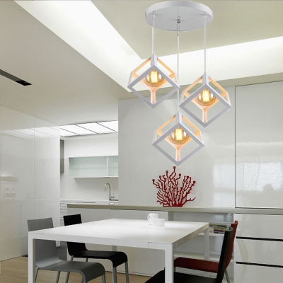 Metal Square Cage Ceiling Light Dining Room Kitchen 3 Lights .