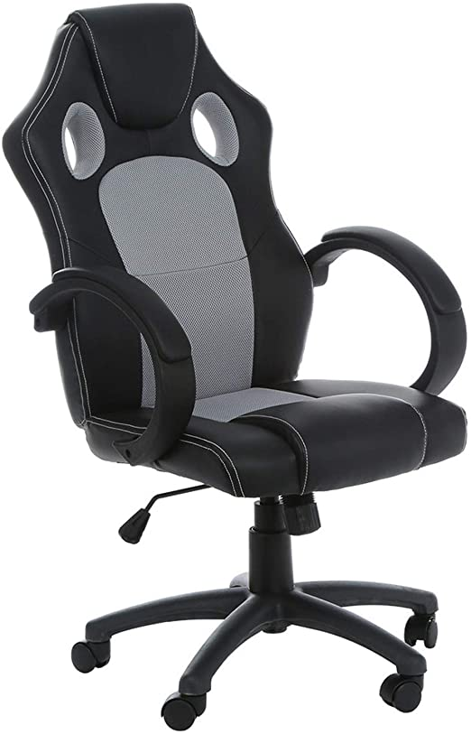 Amazon.com: Modern Office Chairs with Wheels, Black PU Leather .
