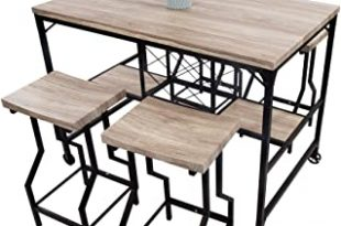 Amazon.com - LUCKYERMORE 5 Piece Counter Height Dining Table Set .