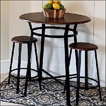 Amazon.com - S.T.L. Hightop Table Set 3 Piece Wood Metal Ktchen .