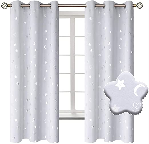 Amazon.com: BGment Moon and Stars Blackout Curtains for Kids .