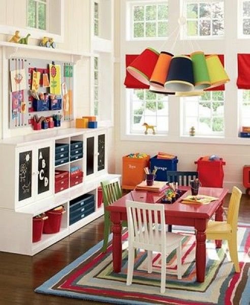 Kids playroom ideas. great shelves and colorful tables and chairs .