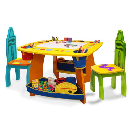 Grow N Up Crayola Kids Wooden Table & Chair Set - Walmart.com .