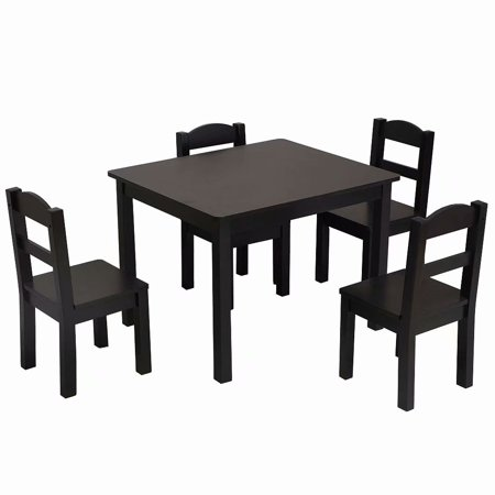 Kids 5-Piece Coffee Color Wood Table and Chair Set, 1 Kids Table .