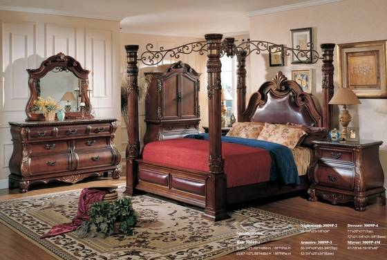 Luuxry Canopy King Bedroom Set,Wood, Hand Carving, Antique(id .
