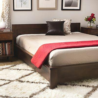 Dark Brown Wood King Size Platform Bed Frame w Headboard Slats .
