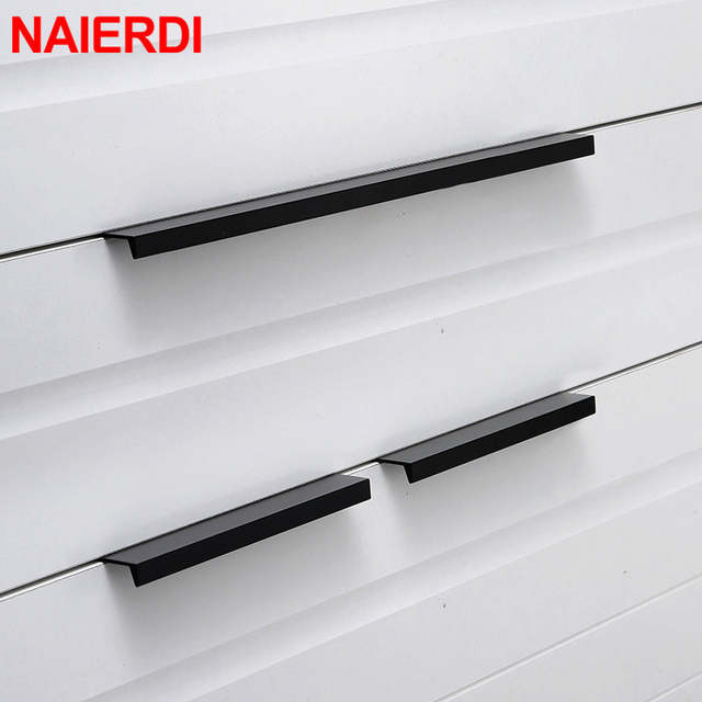 NAIERDI Gold Black Hidden Cabinet Pulls Aluminum Alloy Kitchen .