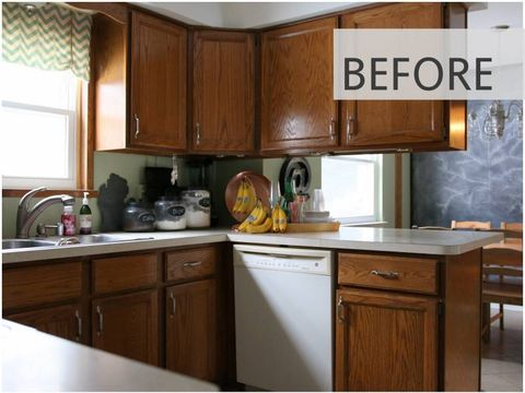 15 DIY Kitchen Cabinet Makeovers - Before & After Photos of .