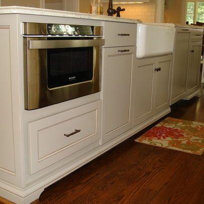microwave drawer, trash, farmhouse sink, dishwasher in large .
