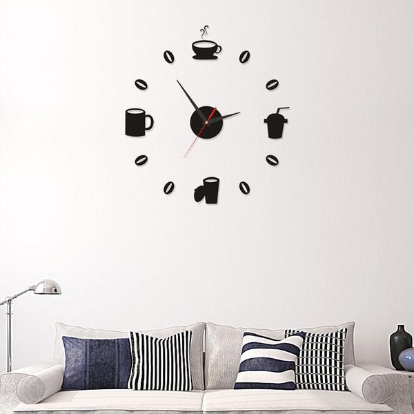 2019 Coffee Cups Kitchen Wall Art Mirror Clock Modern Design Home .
