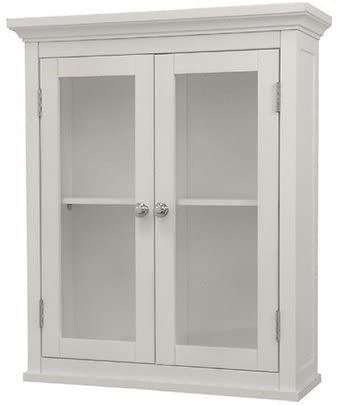 Amazon.com: Classique Elegant Wood Wall Cabinet (White), Two Glass .