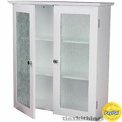 White 2 Glass Door Wall Cabinet Modern Kitchen Storage Cup Board .