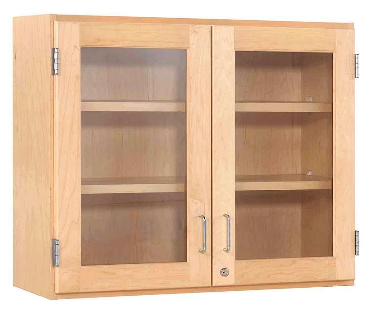 "Maple Double Door Wall Cabinet (30"" W Glass Doors) 