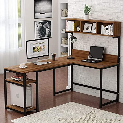 Amazon.com: Tribesigns L-Shaped Desk with Hutch, 68 Inches Corner .
