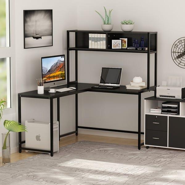"""Shop L-Shaped Desk with Hutch, 55"""" Corner Computer Desk Gaming ."""