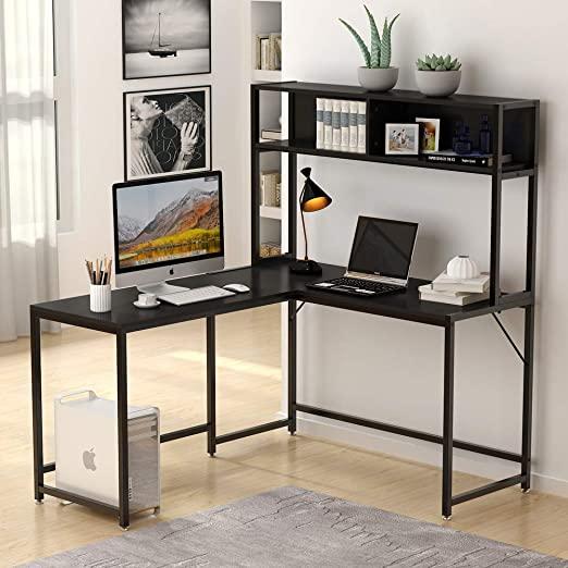 Amazon.com: Tribesigns L-Shaped Desk with Hutch,55 Inches Corner .