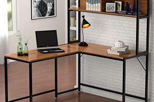 "Amazon.com: Tribesigns L-Shaped Desk with Hutch,55"" Corner ."