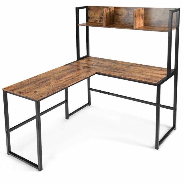 "Industrial L-Shaped Desk w/Hutch Bookshelf 55"" Corner Computer ."