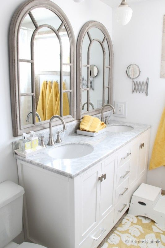 Updated Bathroom; Single Sink Vanity to Double Sink | Large .