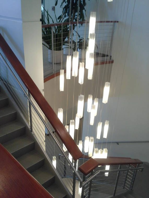 Modern chandelier lighting for foyer or entryway | Stairway .